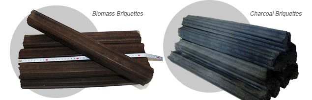 manufactured biomass briquettes and charcoal briquettes
