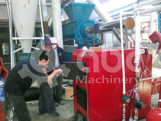 drum dryer and biomass pellet boiler for the pelletising plant