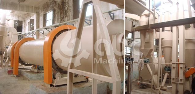 drum dryer machine for the wood pellets processing line