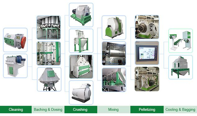 process of feed pellet production line