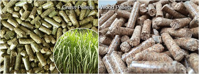 grass pellets and wood pellets