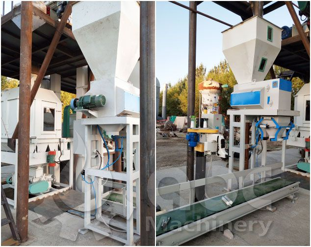 livestock feed pellets cooking & bagging machine in the feed mill