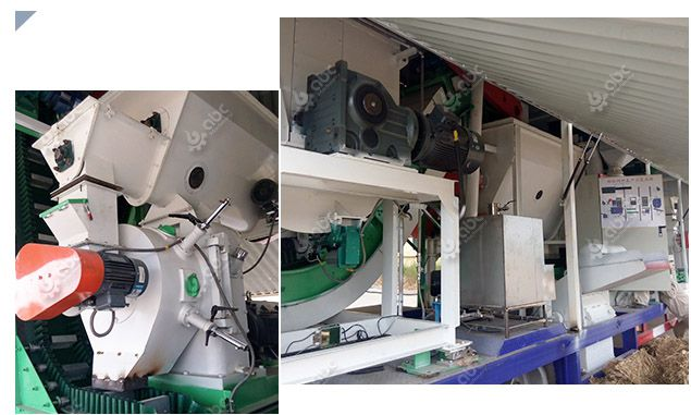mobile cattle feed milling plant for processing forage pellets