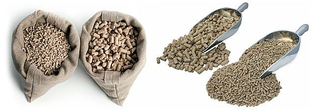 produced chicken feed pellets