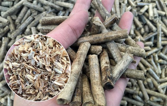 make fuel pellets from rice husks or hulls