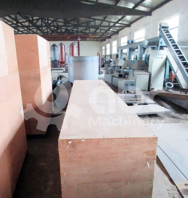 sawdust briquette making equipment being packing