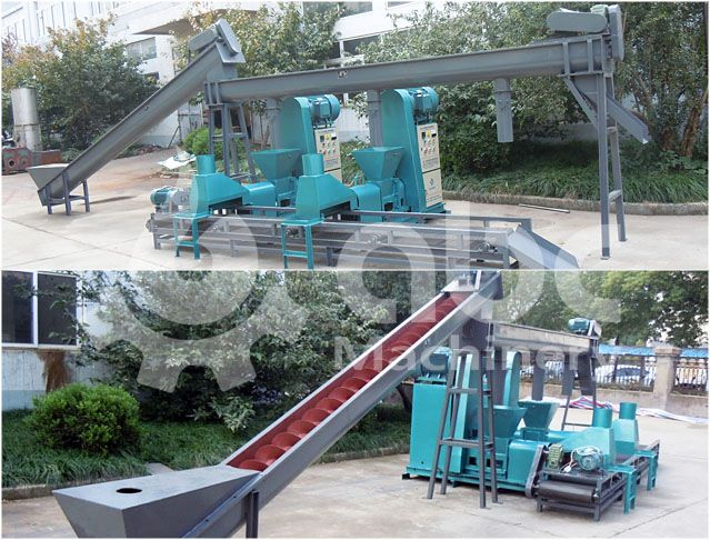 sawdust briquette making machine unit - combined extruder and conveyor