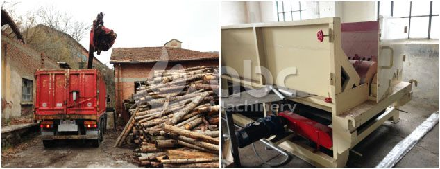 log, timber, wood debarking machine for complete wood pellets line