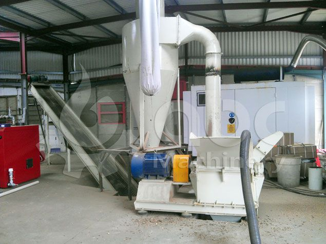 wood crushing machinery included in the biomass pellet line