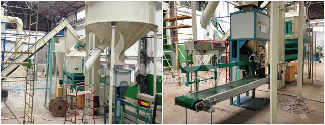 wood pellets cooling and bagging machine included in the line