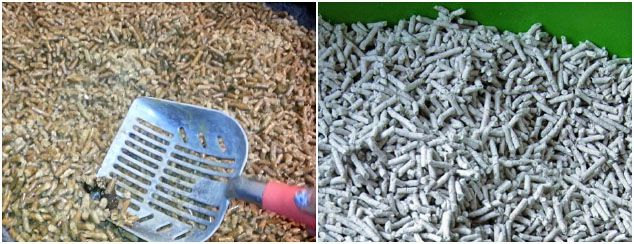 wood pellets and paper pellet used as cat litter